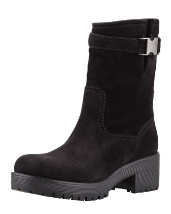 Low-Heel Suede Mid-Calf Boot, Nero