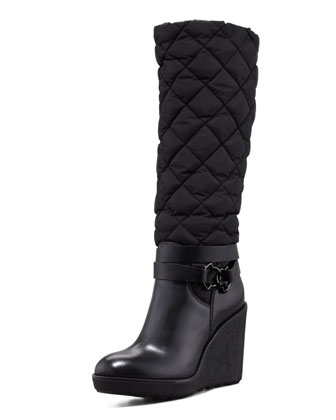 Cernobbio Quilted Dolmias Boot, Black