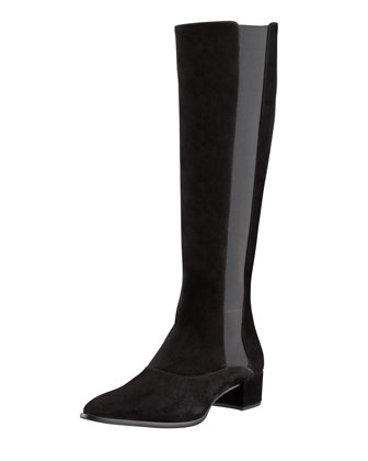 Tall Pointed-Toe Suede Boot, Black