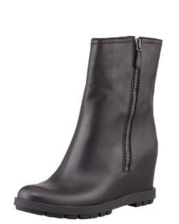 Prada Leather Double-Zipper Wedge Ankle Boot, Black