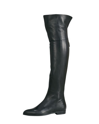 Cervo Shine Flat Over-The-Knee Boot, Black