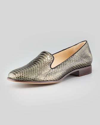 Python Smoking Loafer, Forest Green