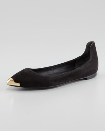 Violette Pointed-Toe Suede Flat, Black
