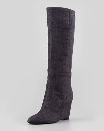 Bomand Croc-Embossed Wedge Boot, Matte Black