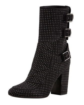 Merli Triple-Buckle Studded Mid-Calf Boot