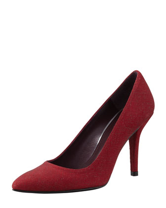 Power Saffiano-Coated Pointed Pump, Scarlet