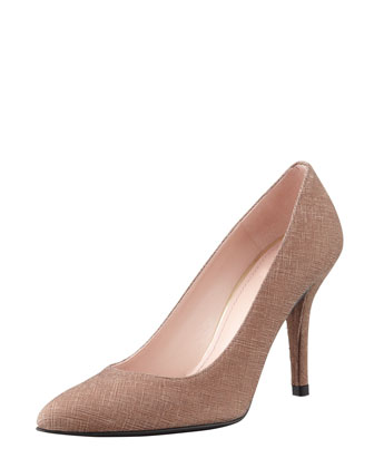 Power Saffiano-Coated Pointed Pump, Dark Haze