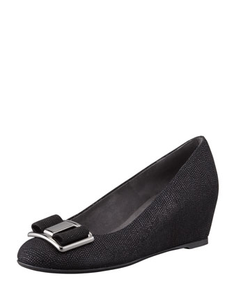 Proper Goosebump Bow Wedge Pump, Black