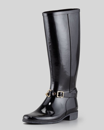 Rubber Chain-Buckle Rain Boot, Black