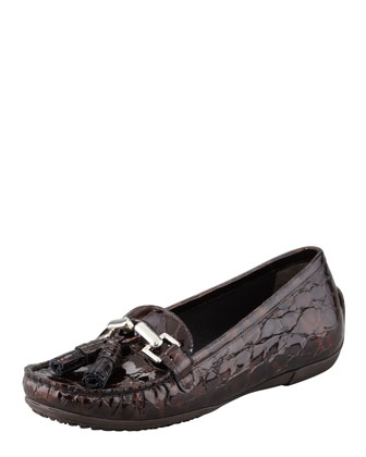 Rascal Patent Crocodile-Embossed Tassel Loafer, Brown
