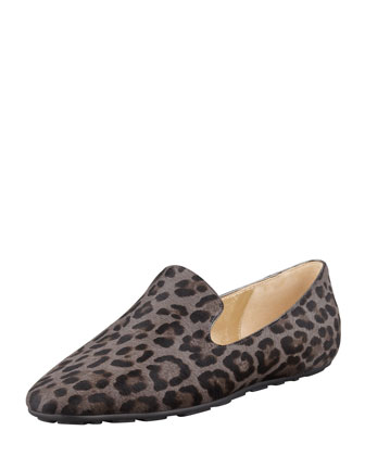 Wheel Leopard-Print Calf Hair Loafer