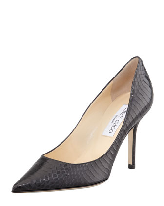 Agnes Snake Pointed-Toe Pump, Black
