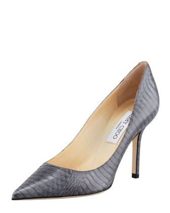 Agnes Snake Pointed-Toe Pump, Smoke