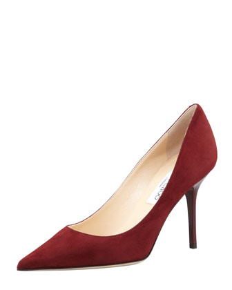 Agnes Suede Pointed-Toe Pump, Claret