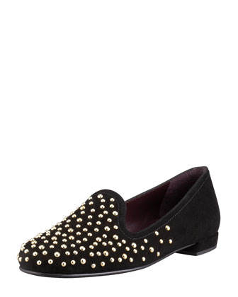 Studon Studded Suede Smoking Slipper, Black