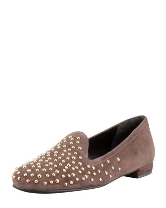 Studon Studded Suede Smoking Slipper, Acorn