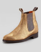 Metallic Double-Loop Chelsea Boot
