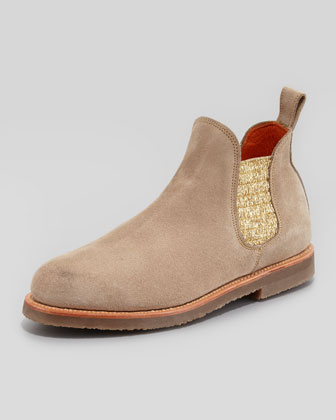 Safari Metallic-Gore Suede Boot, Sand
