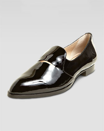 Aly Patent Pointed-Toe Loafer, Black
