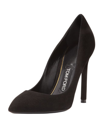 Suede Pointed-Toe Signature Pump