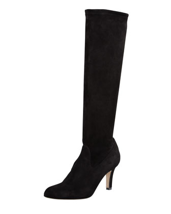Pascaputre Suede Knee-High Boot, Black