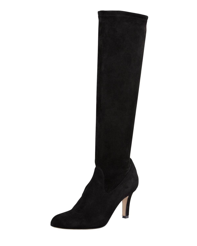 Pascaputre Suede Knee High Boot, Black   Manolo Blahnik   Black (36.0B/6.0B)
