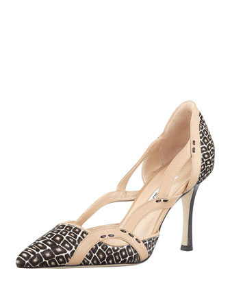Lisol Calf Hair Cutout Single-Sole Pump, Brown/Multi