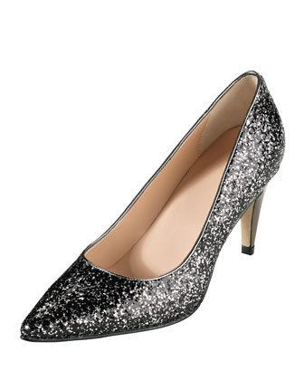 Air Juliana Glitter Pump, Black/Silver