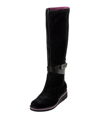 Gerina Suede Knee Boot, Black