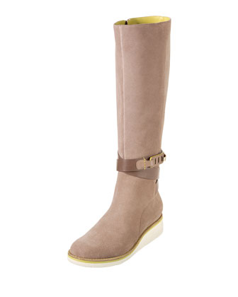 Gerina Suede Knee Boot, Maple Sugar