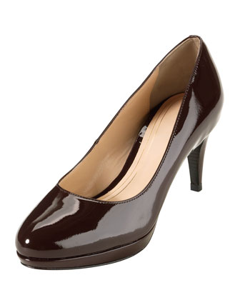 Chelsea Patent Low-Heel Pump, Chestnut