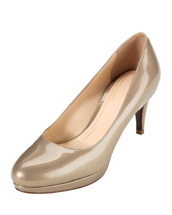 Chelsea Patent Low-Heel Pump, Pewter