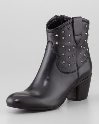 Favor Studded Leather Bootie, Black