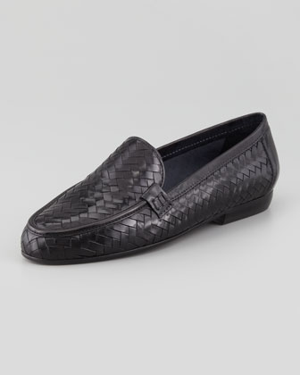 Nina Woven Leather Loafer, Black