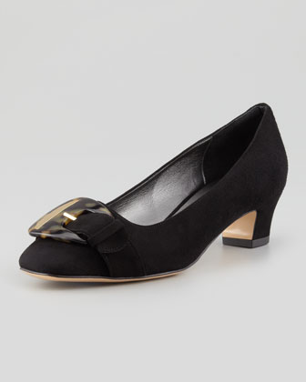 Karen Buckle-Front Suede Pump, Black