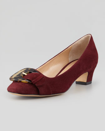 Karen Buckle-Front Suede Pump, Wine