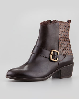 Marty Woven Leather Bootie, Brown
