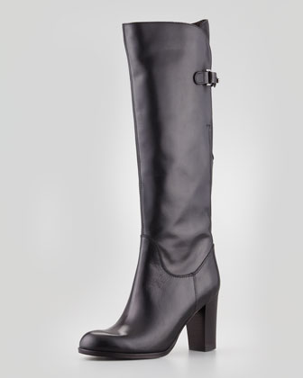 Buckled Leather Knee Boot, Black