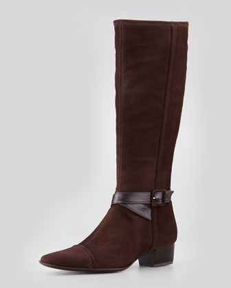 Dana Side-Buckle Suede Boot, T Moro