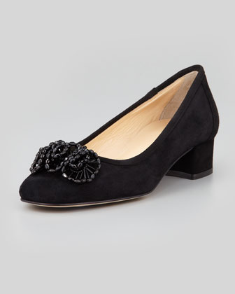 Flirt Beaded Suede Pump, Black