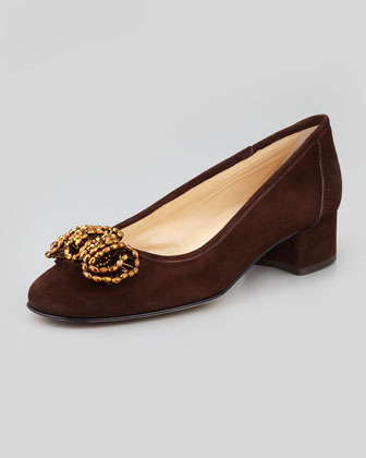 Flirt Beaded Suede Pump, T Moro