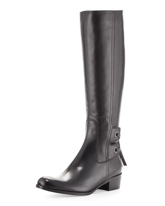 Bond Laced-Back Knee Boot, Black