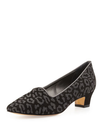Animal-Print Suede Pump, Black/Gray