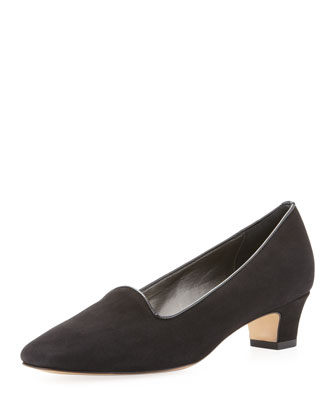 Kris Low-Heel Suede Loafer Pump