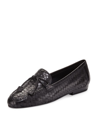 Nancy Woven Tassel Loafer, Black