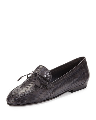 Nancy Woven Tassel Loafer, Gray