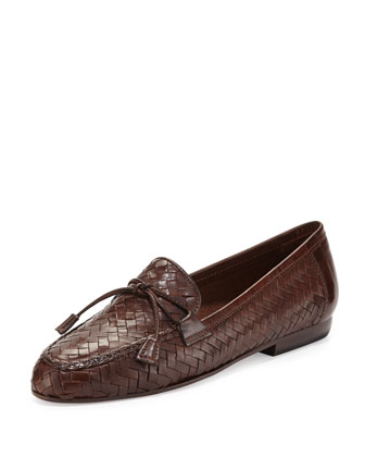 Nancy Woven Tassel Loafer, Dark Tan