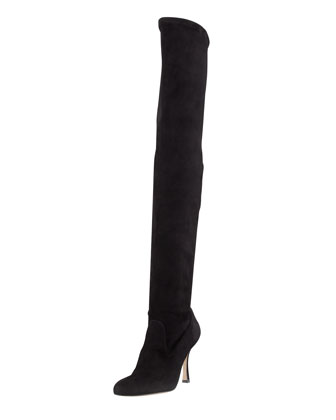 Pascalare Over-the-Knee Stretch Suede Boot, Black