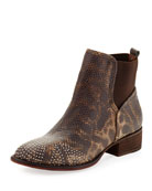 Pronto Metallic Stud Ankle Boot, Natural