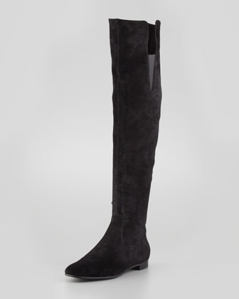 Suede Over-the-Knee Flat Boot, Black
